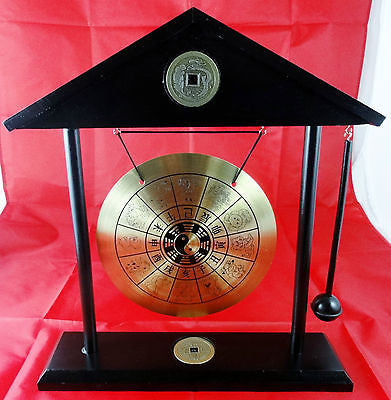 LARGE ROOF TOP CHINESE BRASS DINNER GONG YIN YANG ZODIAC W/ STAND & HAMMER WL32