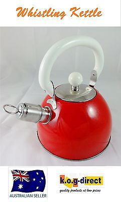 FINE KITCHEN STAINLESS STEEL STOVE TOP WHISTLING KETTLE TEA COFFEE - RED 2L