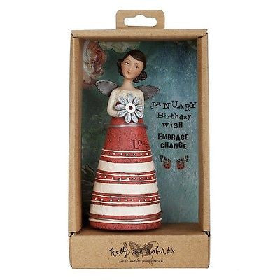 KELLY RAE ROBERTS COLLECTION BIRTHDAY WISH ANGEL FIGURINE - JANUARY BIRTHSTONE