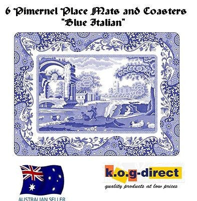 Pimpernel BLUE ITALIAN  Set Of  6 Placemats & 6 Coasters Placemat Coaster