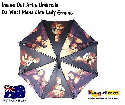 DA VINCI MONA LISA LADY ERMINE AUTOMATIC OPENING UMBRELLA INSIDE ART 100CM HW184