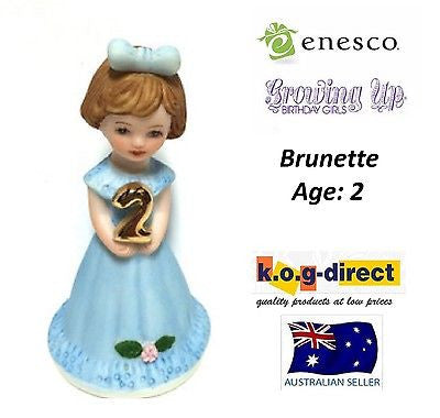 ENESCO GROWING UP GIRLS FIGURINE AGE 2 BRUNETTE BRAND NEW IN BOX
