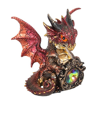GOTHIC ADOLESCENT ORANGE DRAGON WITH GEM FIGURINE A