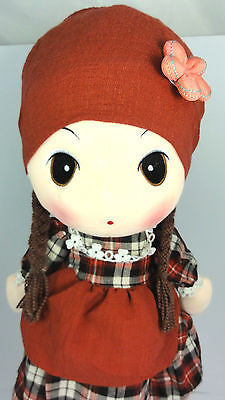 CUTE AZZ COLLECTABLE COUNTRY GIRL RAG DOLL VELVET SOFT PLUSH BROWN 60CM HW-86
