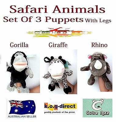 SET OF 3 PLUSH SAFARI ANIMALS HAND PUPPETS LEGS GORILLA GIRAFFE RHINO B-56