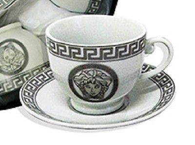 MILANO MEDUSA FACE ESPRESSO COFFEE CUPS & SAUCERS SET OF 6 PORCELAIN SILVERRM109
