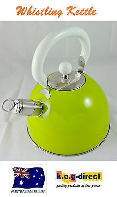 FINE KITCHEN STAINLESS STEEL STOVE TOP WHISTLING KETTLE TEA COFFEE -  LIME 4L