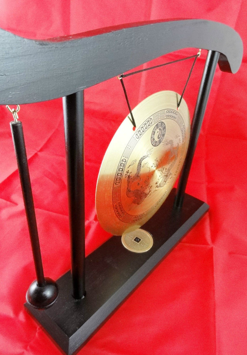 LARGE CHINESE DINNER BRASS GONG YIN YANG ZODIAC WITH WOODEN STAND & HAMMER WL33
