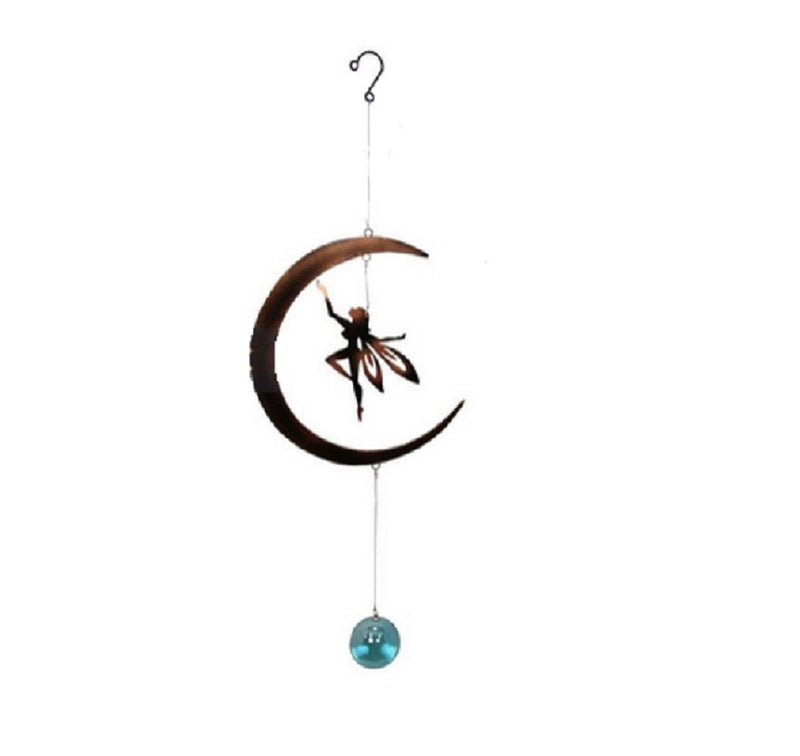 FAIRY HAND UP ON MOON WITH GEM AND GLASS BALL MOBILE
