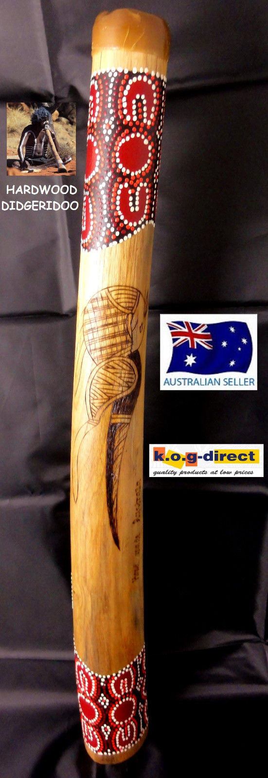DIDGERIDOO BURNT HARDWOOD 60CM ABORIGINAL STYLE BEAUTIFULLY HAND PAINTED NEW BRN