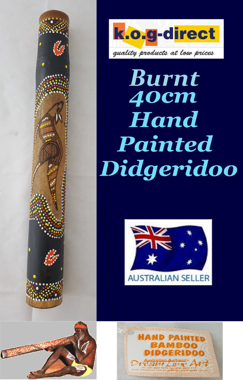 DIDGERIDOO BURNT BAMBOO 40CM ABORIGINAL BEAUTIFULLY HAND PAINTED NEW ORG