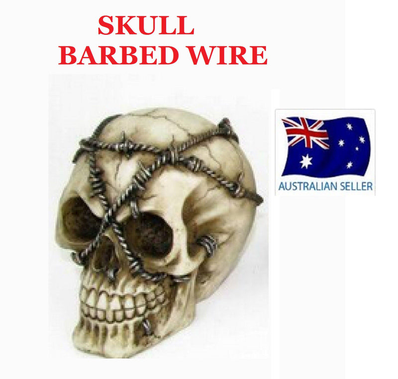 GOTHIC SKULL HEAD ORNAMENT BARBED WIRE INTRICATE DETAIL FANTASY NEW SKULHEAD