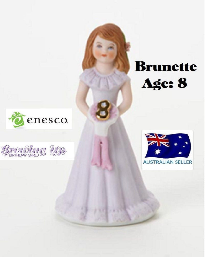 ENESCO GROWING UP GIRLS FIGURINE AGE 8 BRUNETTE BRAND NEW IN BOX