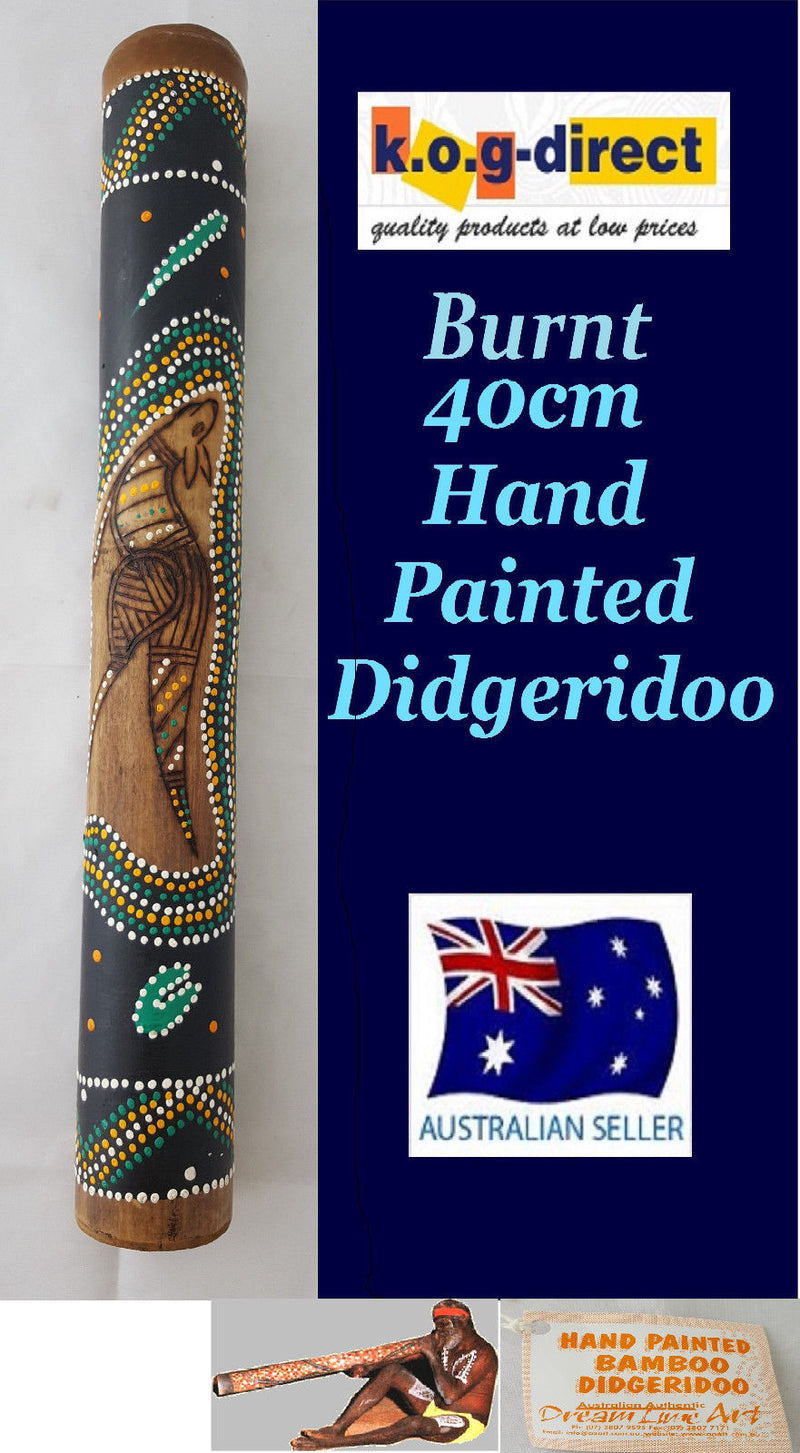 DIDGERIDOO BURNT BAMBOO 40CM ABORIGINAL BEAUTIFULLY HAND PAINTED NEW GRN