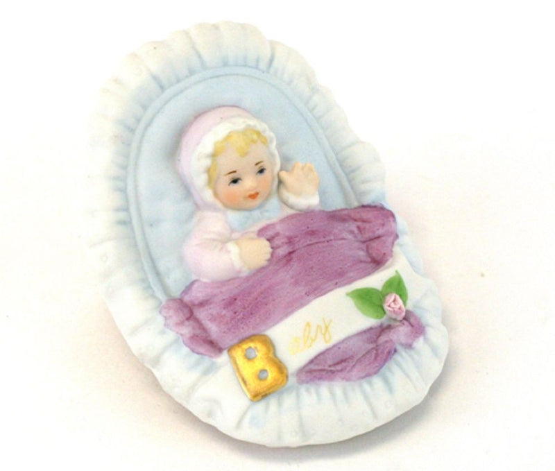 ENESCO GROWING UP GIRLS FIGURINE BABY IN CRADLE BLONDE BRAND NEW IN BOX