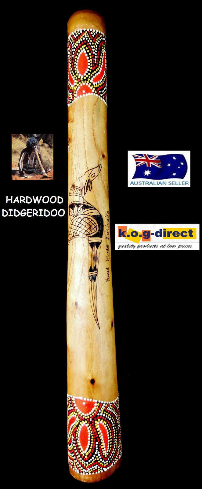 DIDGERIDOO BURNT HARDWOOD 60CM ABORIGINAL BEAUTIFULLY HAND PAINTED NEW ORG