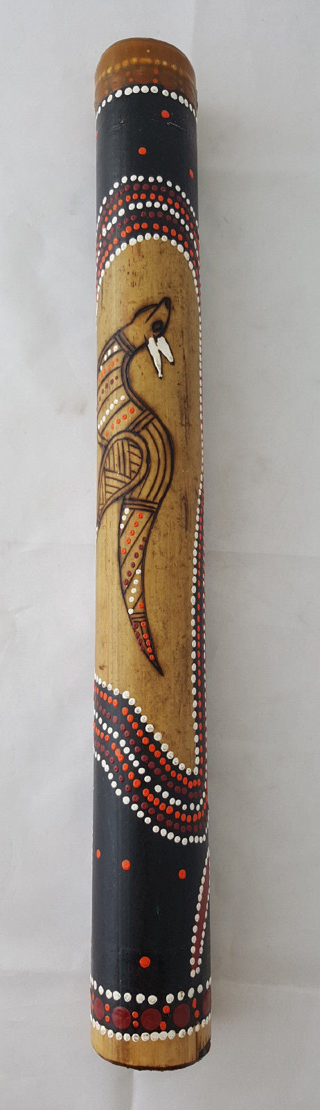 DIDGERIDOO BURNT BAMBOO 40CM ABORIGINAL BEAUTIFULLY HAND PAINTED NEW BRN