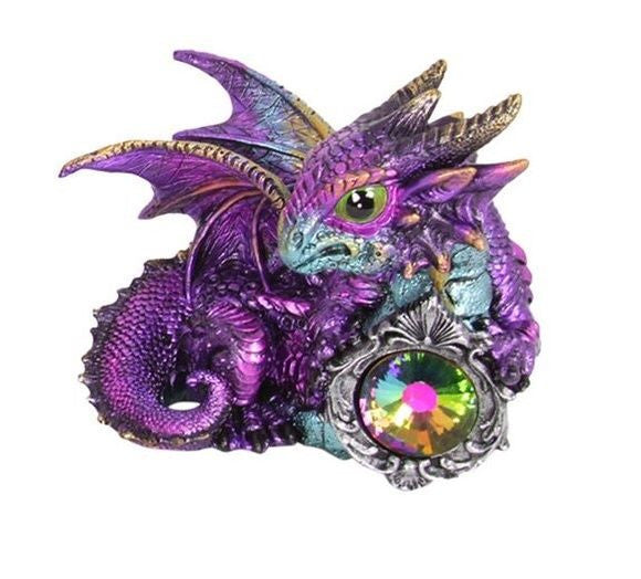 GOTHIC ADOLESCENT PURPLE DRAGON WITH GEM FIGURINE C