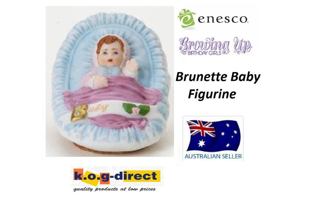 ENESCO GROWING UP GIRLS FIGURINE BABY IN CRADLE BRUNETTE BRAND NEW IN BOX