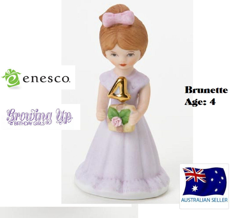 ENESCO GROWING UP GIRLS FIGURINE AGE 4 BRUNETTE BRAND NEW IN BOX