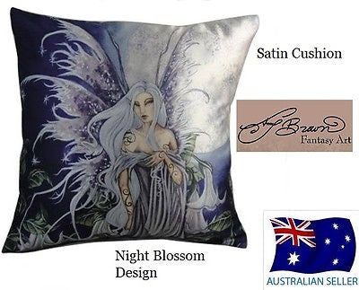AMY BROWN Myth Fantasy NIGHT BLOSSOM CUSHION Printed Satin Cushion NEW