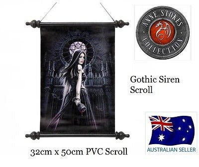 ORIGINAL ANNE STOKES FANTASY SCROLL GOTHIC SIREN NEW IN BOX WALL HANGING