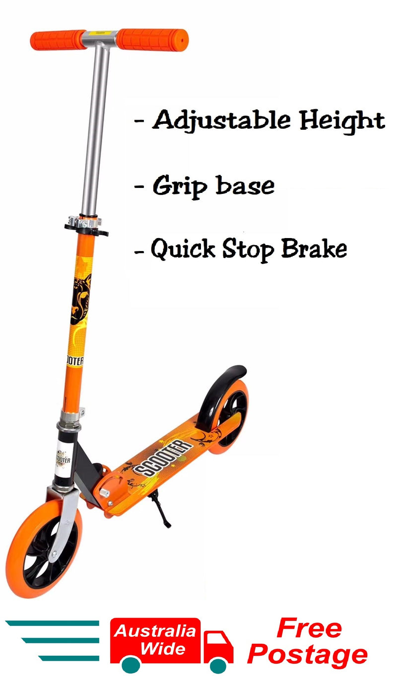 ORANGE FOLDING SCOOTER ADJUSTABLE HEIGHT WITH NON SLIP BASE EASY BRAKE HW301
