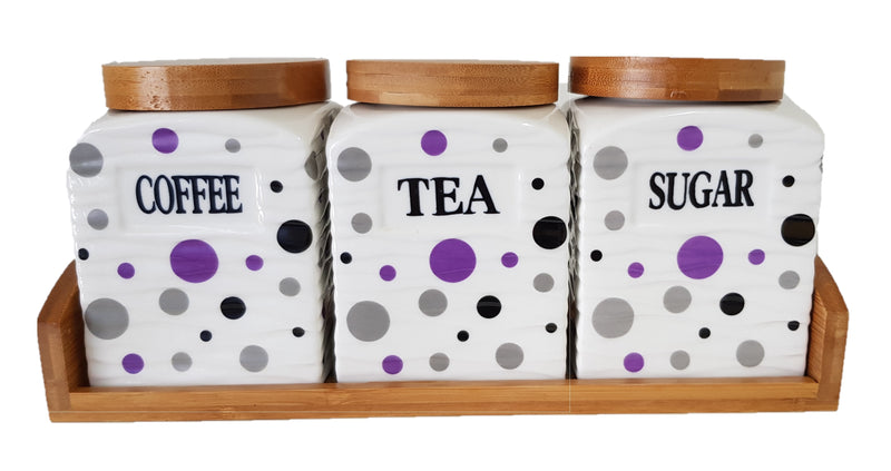 SET OF 3 CANISTER SET TEA COFFEE SUGAR POLKA DOT PURPLE SQUARE WITH WOODEN STAND