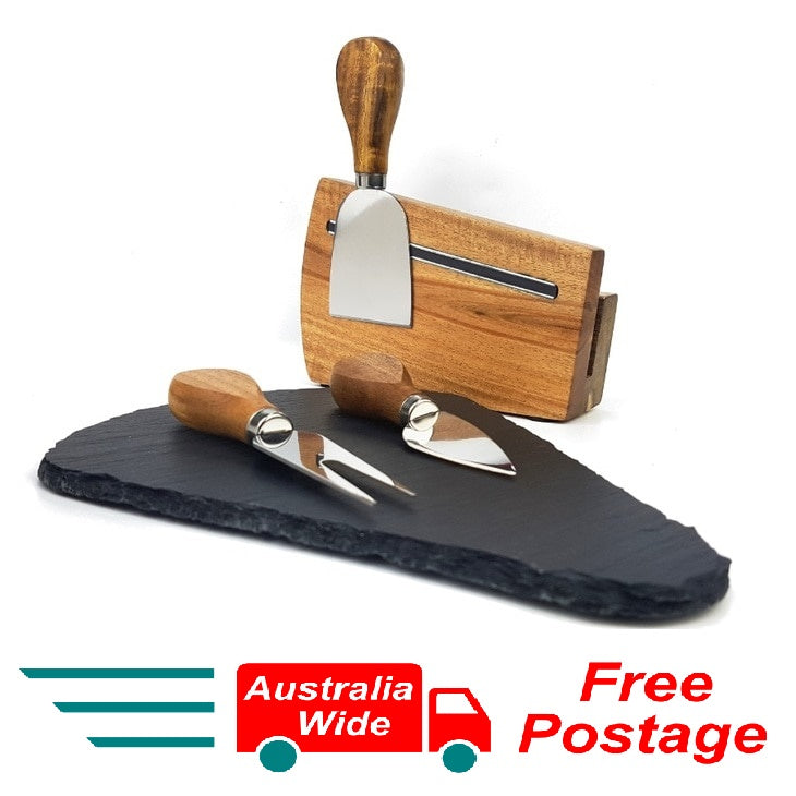 Cerver 5 Piece Cheese Board Set 3 Cheese Knives Witch Slate Board and Magnet
