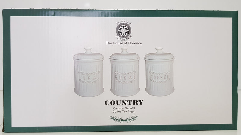The House Of Florence Country Style Set Of 3 Canister Set Tea Coffee Sugar AJ002