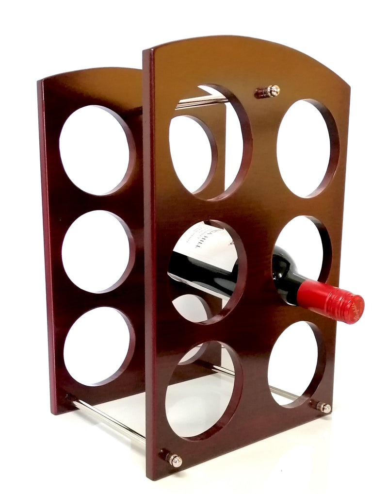 Rectangular Wooden Wine Rack Stand 6 Bottle Organiser Holder for Home Bar HW684