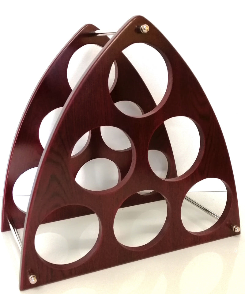 Triangular Wooden Wine Rack Stand 6 Bottle Organiser Holder for Home Bar HW683