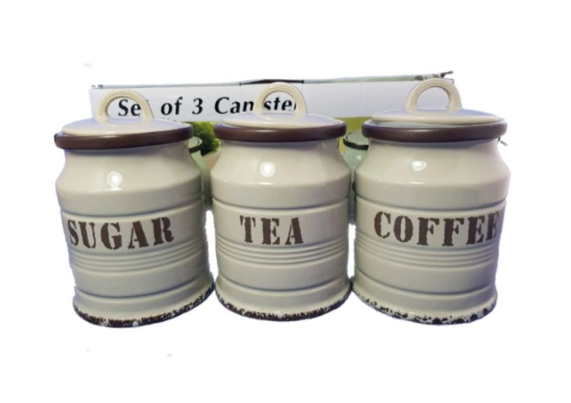 Set Of Three Sugar Tea Coffee Milk Barrel Canister Rubber Seal Beige HW-363