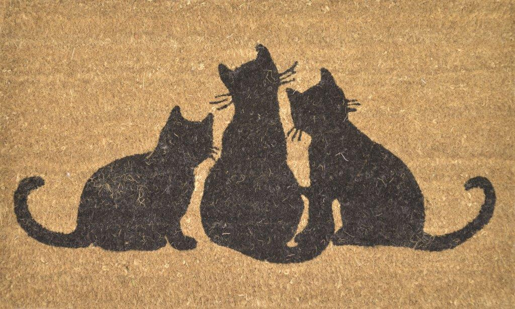 SOLEMATE DOOR MAT DOOR MAT BLACK CATS NATURAL COIR WITH PVC BACKING OUTDOOR DOORMAT