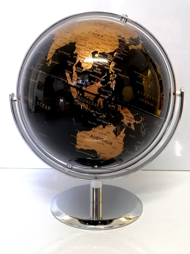 AMAZING HIGH QUALITY BLACK AND COPPER WORLD GLOBE DOUBLE AXEL CHROME BASE 25cm