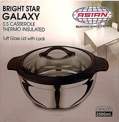 BRIGHT STAR GALAXY STAINLESS STEEL FOOD WARMER INSULATED CASSEROLE HOT POT 2.5 LITRE
