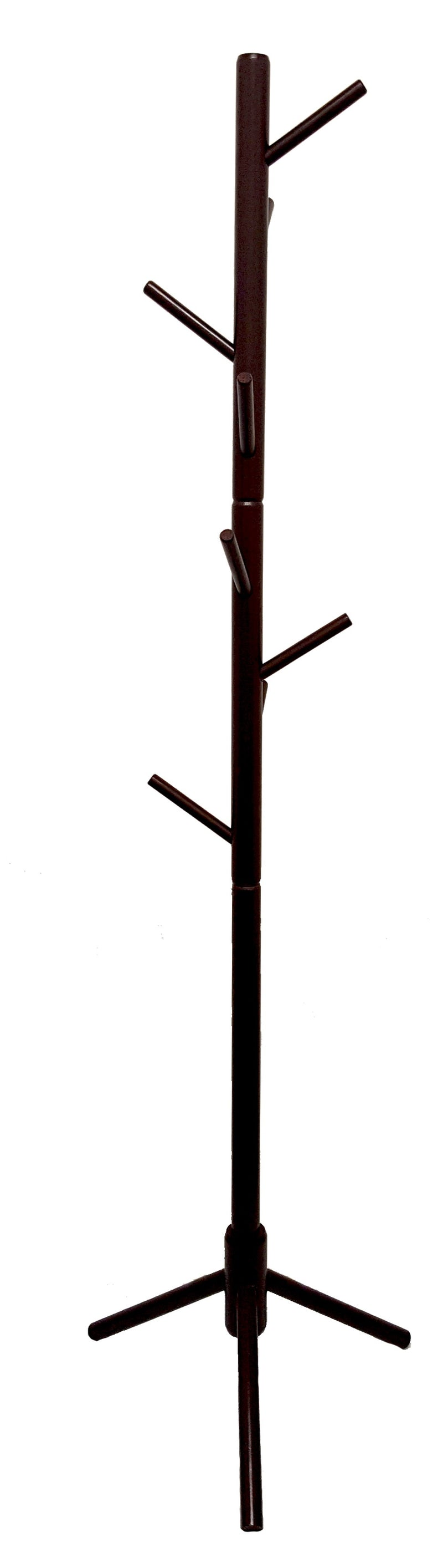Brown Wooden Coat Stand Rack Clothes Hanger Hat Tree Vintage Jacket Bag Umbrella