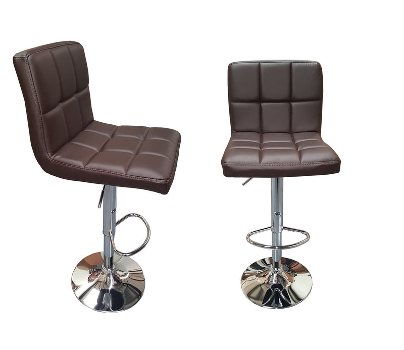 2X MODERN MYRA BROWN BAR KITCHEN STOOLS PU LEATHER CUSHION ADUSTABLE GAS LIFT STREADY BASE