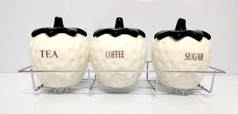 SET OF 3 CANISTER SET TEA COFFEE AND SUGAR WHITE STRAWBERRY DESGIN HW620