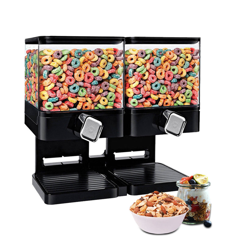 LARGE DOUBLE CEREAL DISPENSER DRY FOOD GRAINS STORAGE CONTAINER SQUARE BLACK HW377