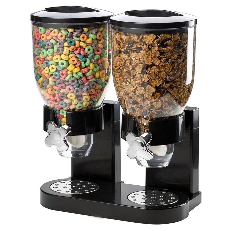 LARGE DOUBLE CEREAL DISPENSER DRY FOOD GRAINS STORAGE CONTAINER BLACK HW375