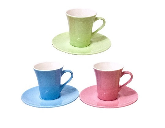Milano Collection Set Of 6 Pastel Espresso Coffee Cups & 6 Saucers NEW RM1040