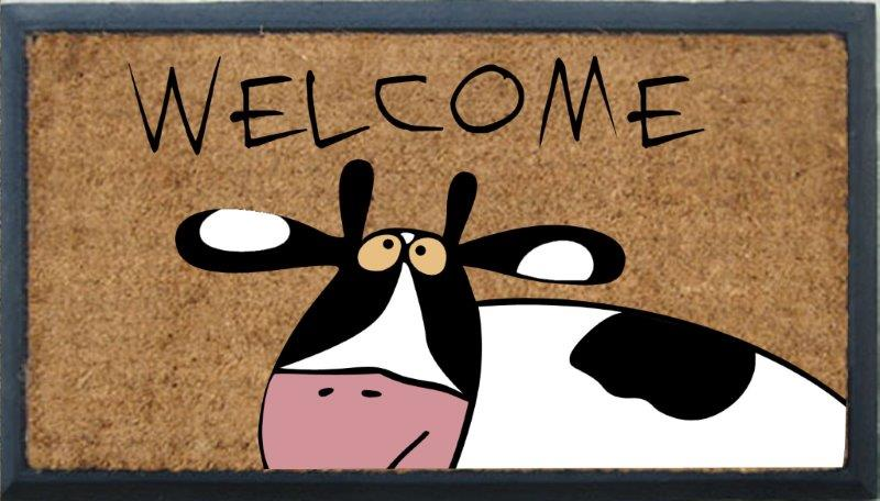 SOLEMATE DOOR MAT COW WELCOME NATURAL COIR ON RUBBER OUTDOOR DOORMAT