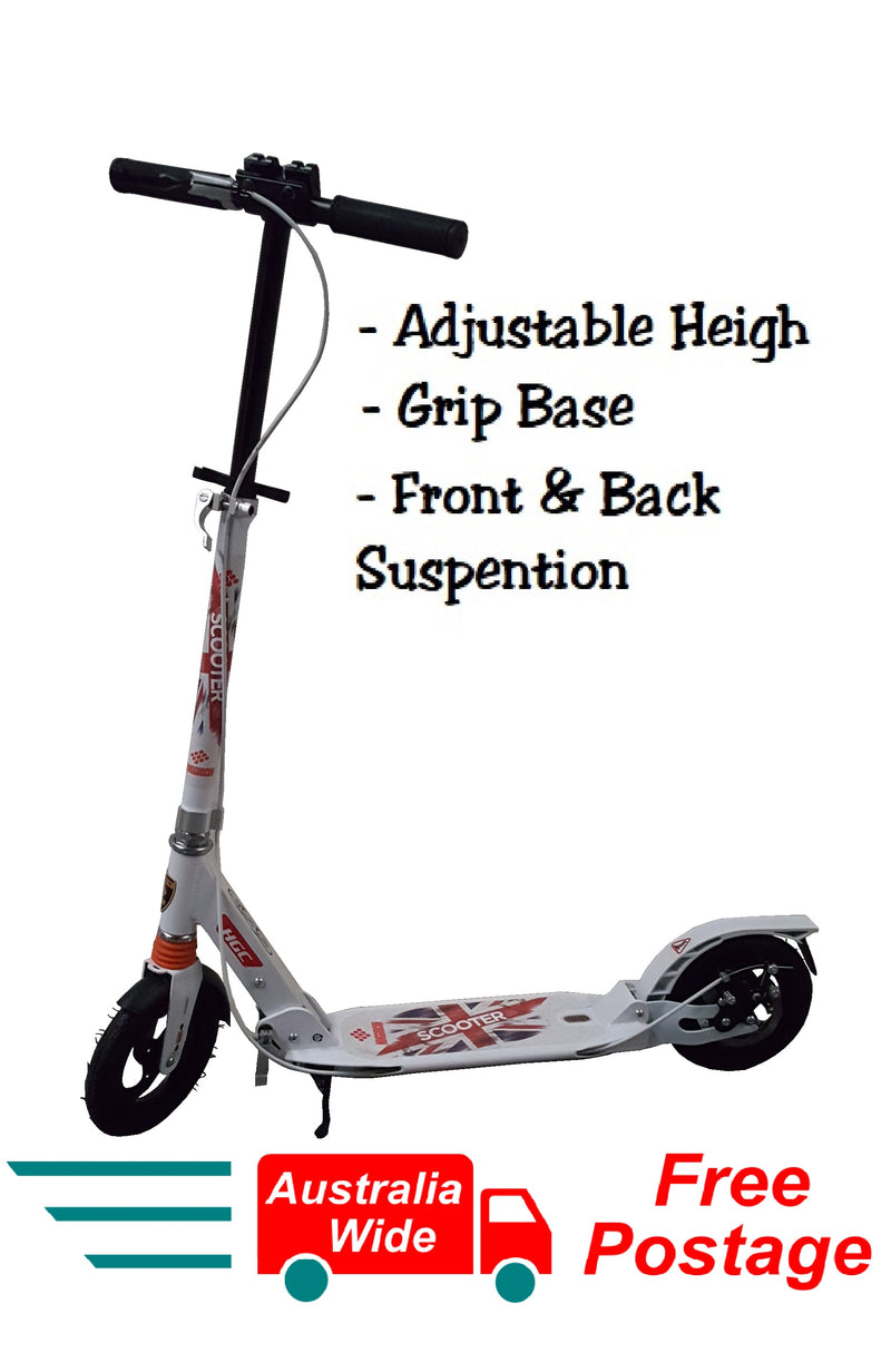 2018 WHITE FOLDING SCOOTER ADJUSTABLE HEIGHT SUSPENTION HAND DISK BREAK HW303
