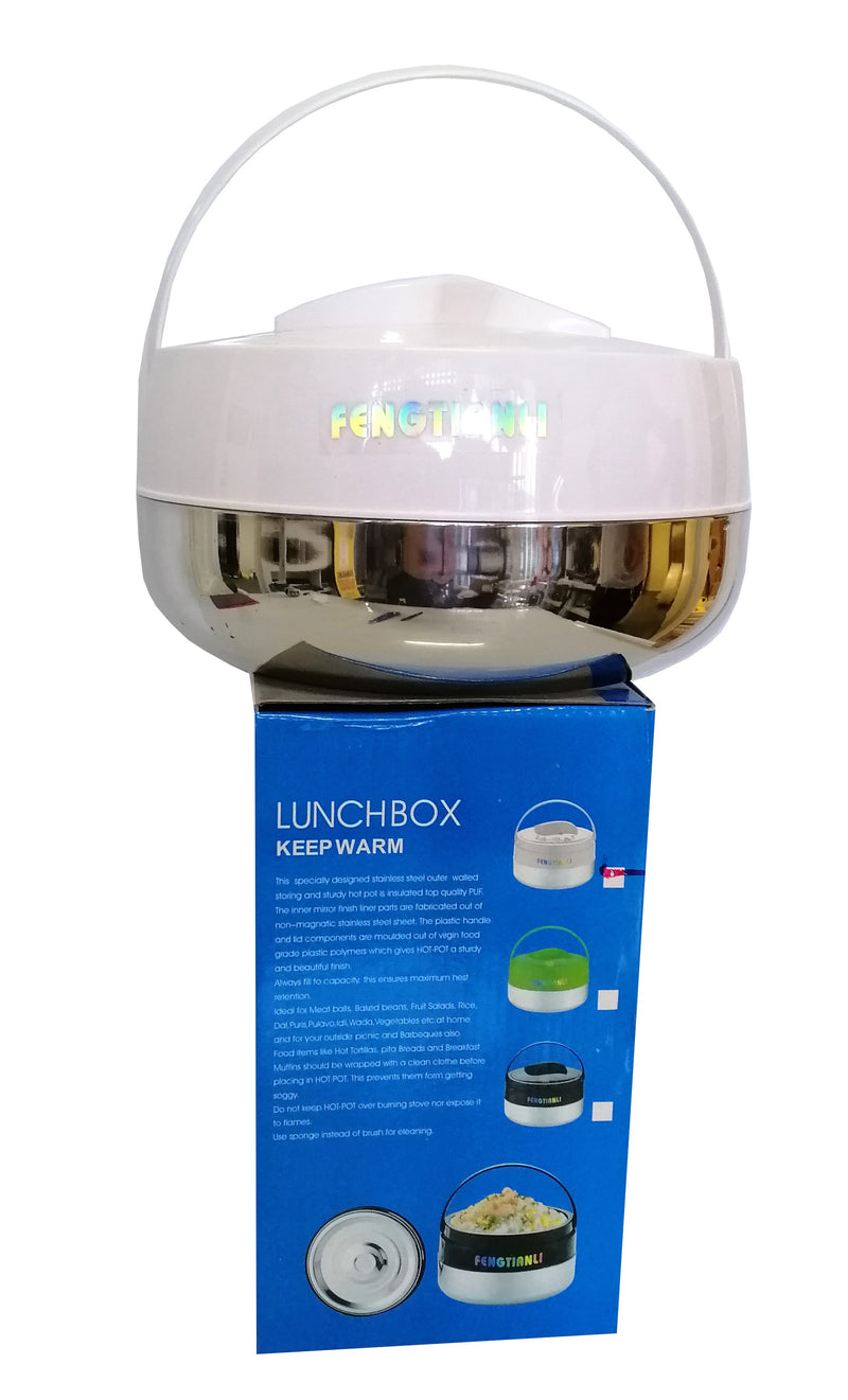FINE KITCHEN INSULATED FOOD WARMER LUNCH BOX STAINLESS STEEL & WHITE WITH HANDLE 4 LITRE HW670