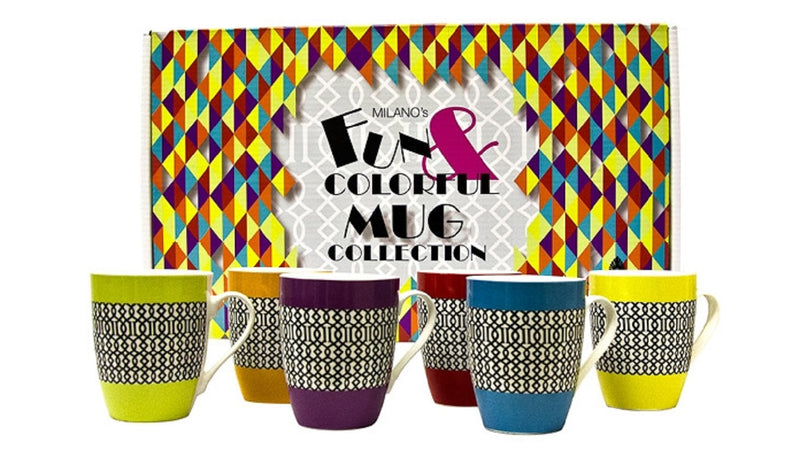 Milano Collection Set of 6 Fun & Colourful Coffee Tea Mugs Cream&Black Pattern
