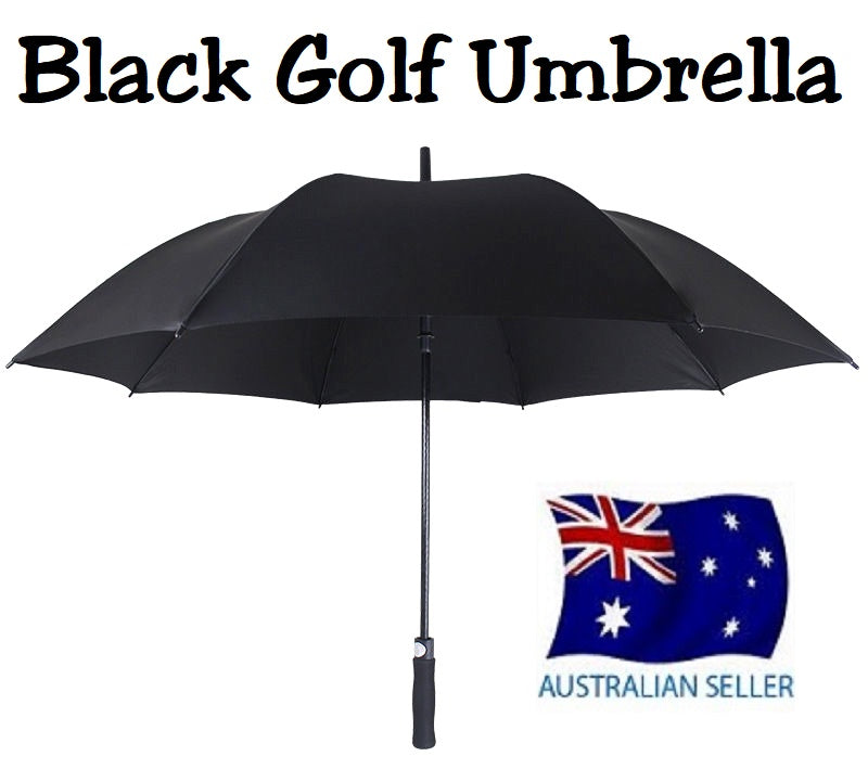 HUGE 150cm BLACK GOLF UMBRELLA AUTO OPEN COVER AND STRAP WIND PROOF HW359