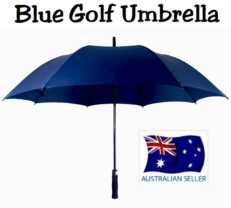 HUGE 150cm BLUE GOLF UMBRELLA AUTO OPEN COVER AND STRAP WIND PROOF HW359