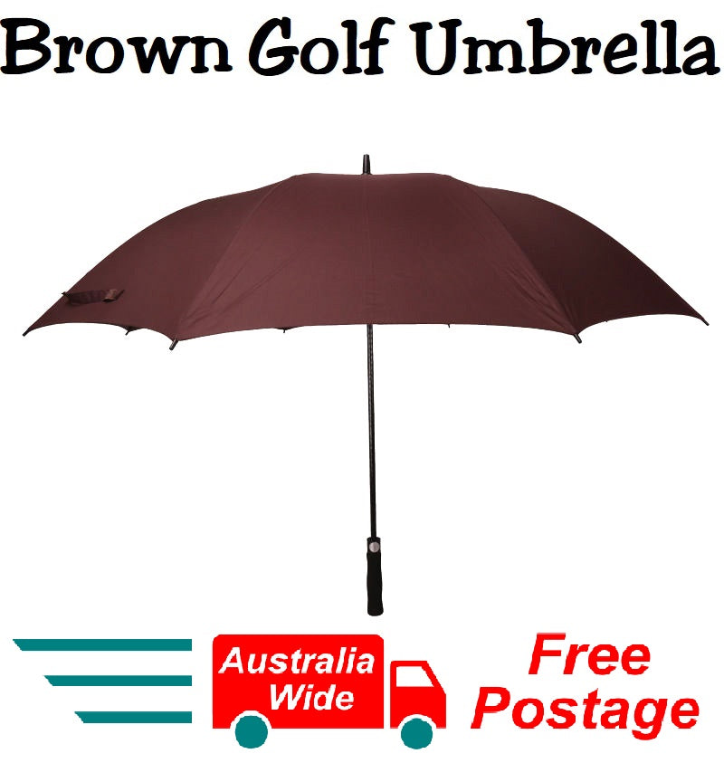 HUGE 150cm BROWN GOLF UMBRELLA AUTO OPEN COVER AND STRAP WIND PROOF HW359
