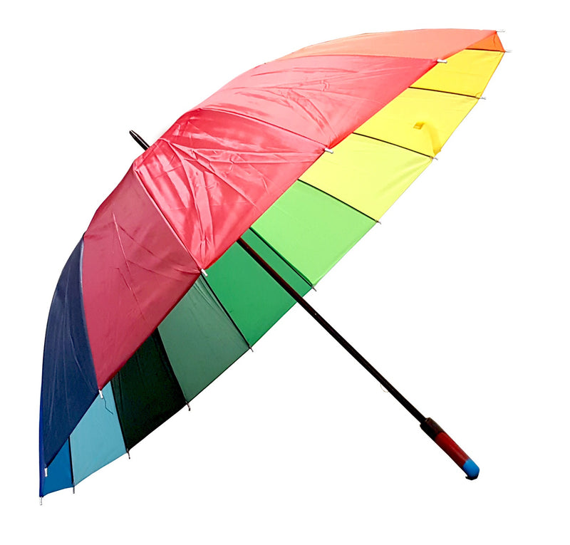 HUGE 150cm Dome BRIGHT RAINBOW GOLF UMBRELLA MULTI COLOUR UNISEX WIND PROOF HW357